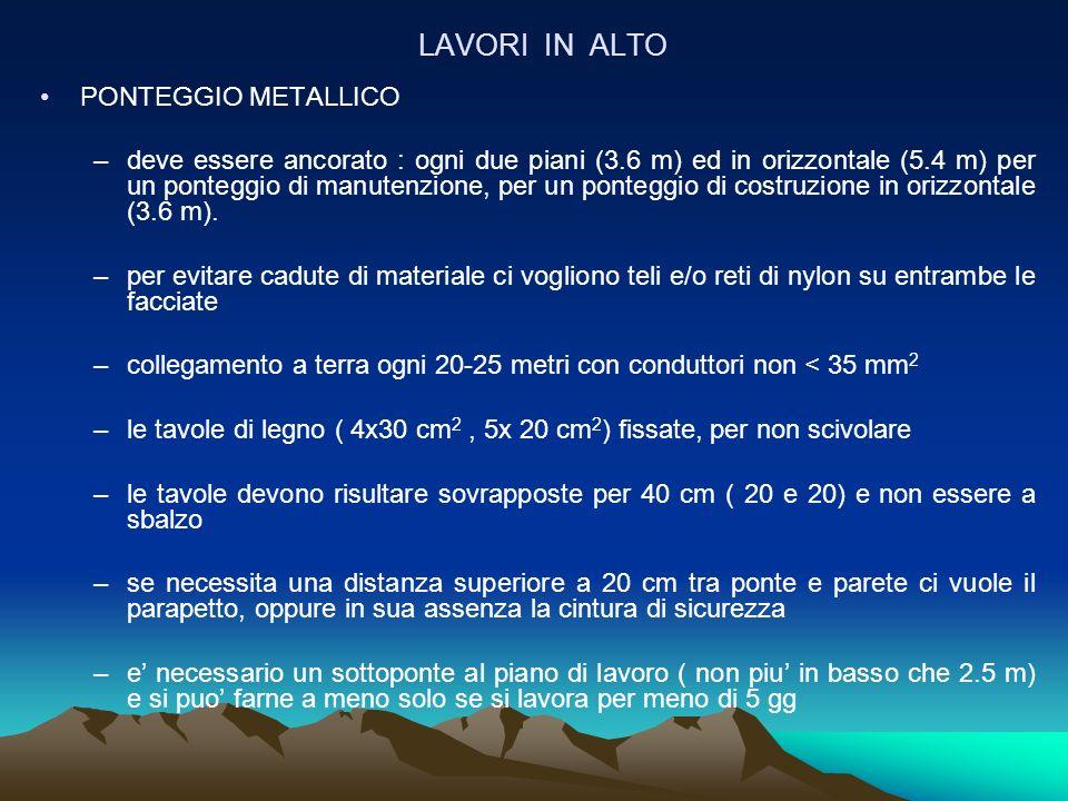 LAVORI IN ALTO PONTEGGIO METALLICO –deve essere ancorato : ogni due piani (3.6 m) ed in orizzontale (5.4 m) per un ponteggio di manutenzione, per un p