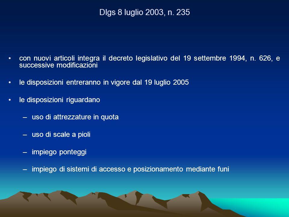Dlgs 8 luglio 2003, n. 235 con nuovi articoli integra il decreto legislativo del 19 settembre 1994, n. 626, e successive modificazioni le disposizioni
