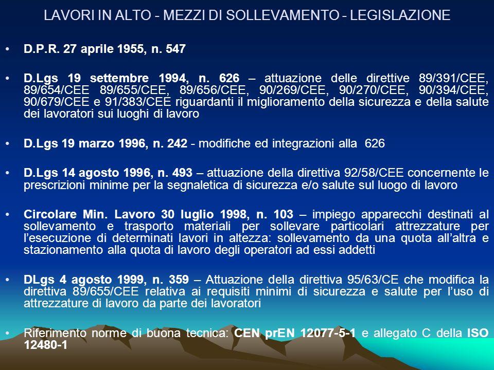 LAVORI IN ALTO - MEZZI DI SOLLEVAMENTO - LEGISLAZIONE D.P.R. 27 aprile 1955, n. 547 D.Lgs 19 settembre 1994, n. 626 – attuazione delle direttive 89/39