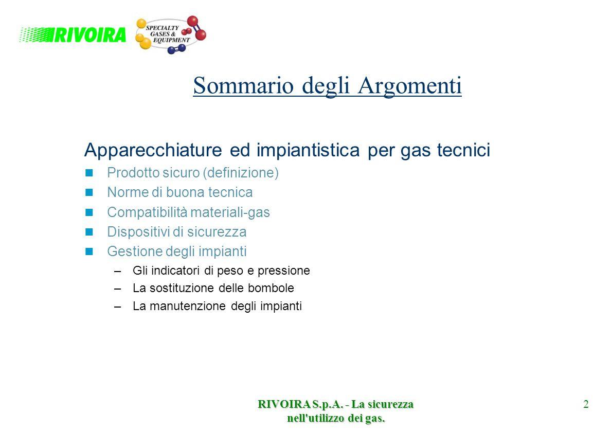 RIVOIRA S.p.A. - La sicurezza nell'utilizzo dei gas. 2 Sommario degli Argomenti Apparecchiature ed impiantistica per gas tecnici Prodotto sicuro (defi