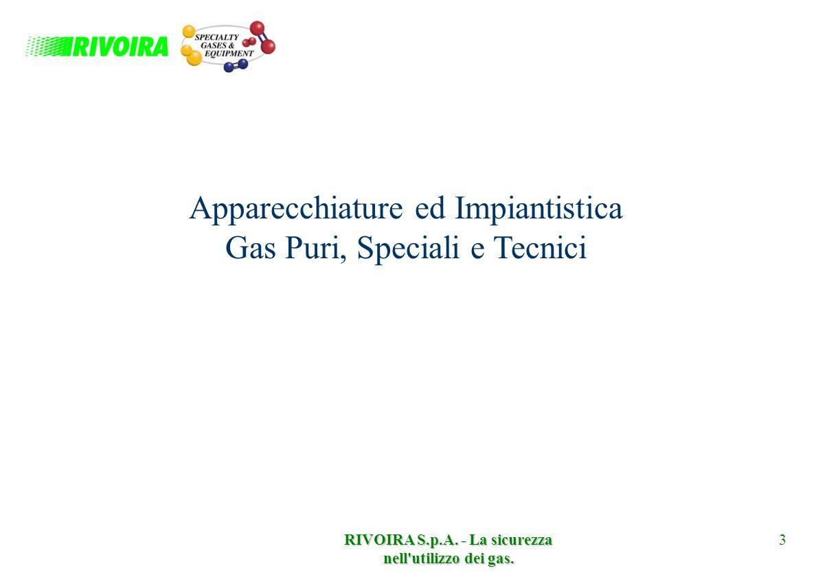 RIVOIRA S.p.A. - La sicurezza nell'utilizzo dei gas. 3 Apparecchiature ed Impiantistica Gas Puri, Speciali e Tecnici