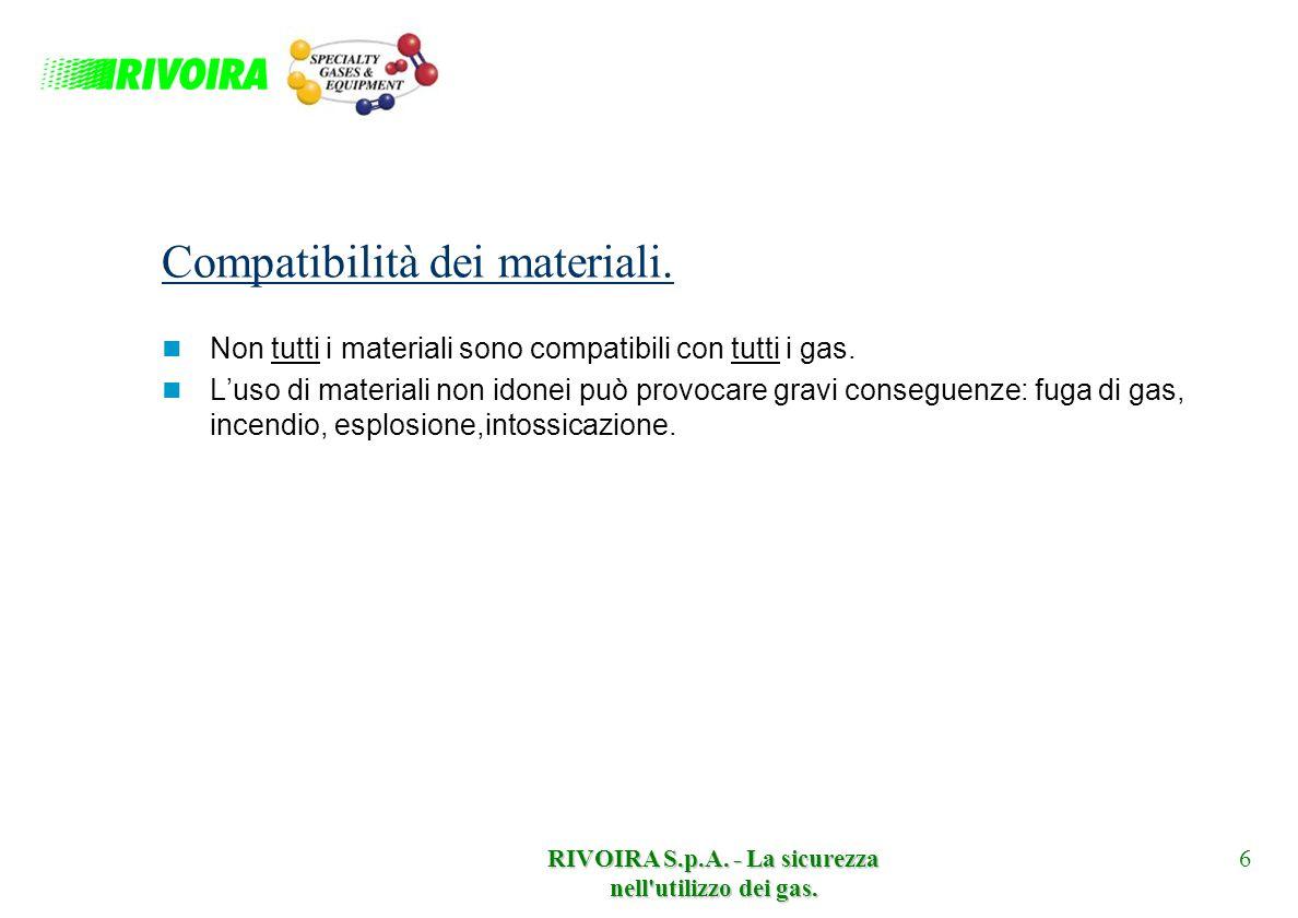 RIVOIRA S.p.A. - La sicurezza nell'utilizzo dei gas. 6 Compatibilità dei materiali. Non tutti i materiali sono compatibili con tutti i gas. Luso di ma