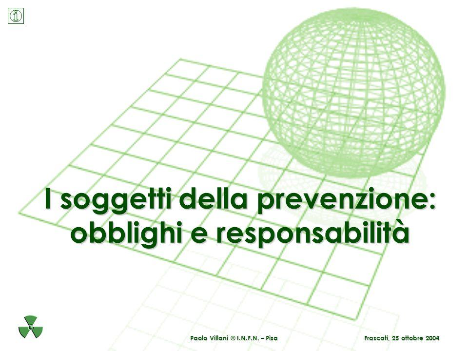 Paolo Villani © I.N.F.N. – Pisa I soggetti della prevenzione: obblighi e responsabilità Frascati, 25 ottobre 2004