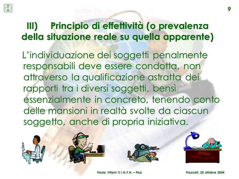 Paolo Villani © I.N.F.N. – Pisa 9 Frascati, 25 ottobre 2004 III)Principio di effettività (o prevalenza della situazione reale su quella apparente) Lin