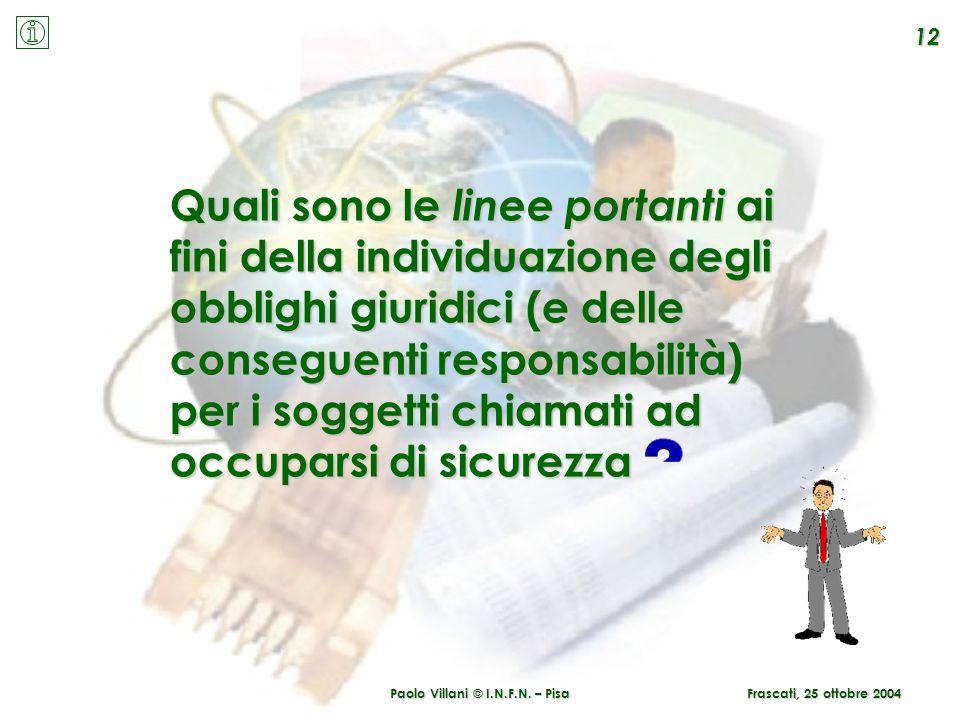 Paolo Villani © I.N.F.N. – Pisa 12 Frascati, 25 ottobre 2004 Quali sono le linee portanti portanti ai fini della individuazione degli obblighi giuridi