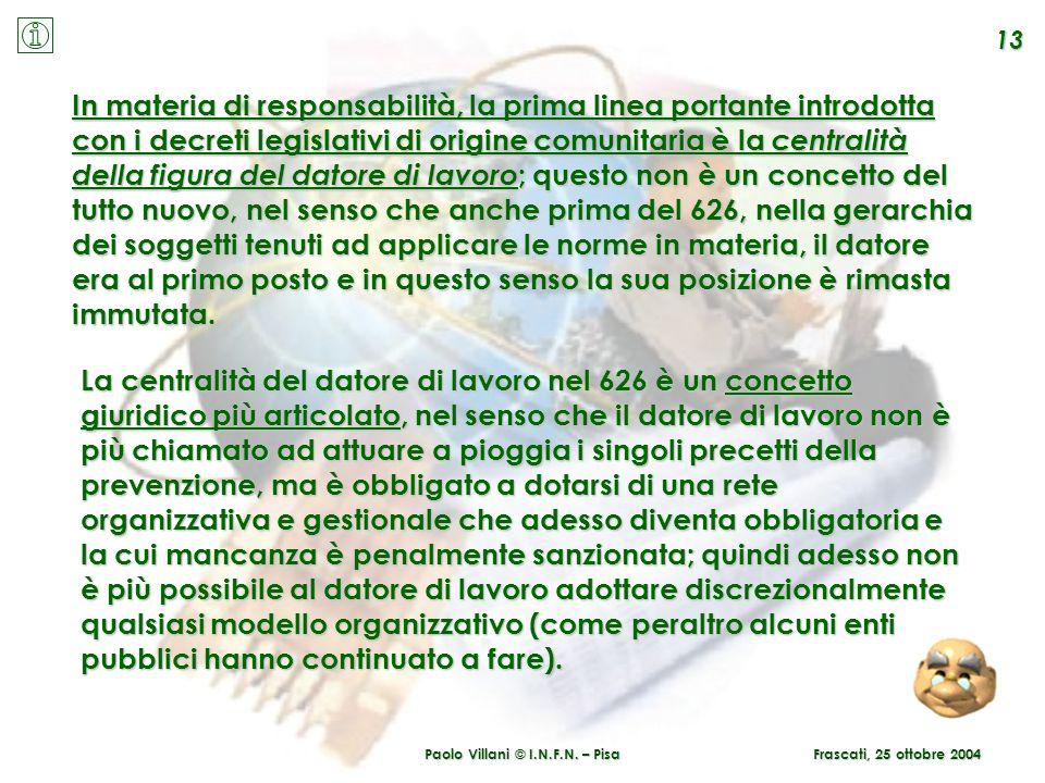 Paolo Villani © I.N.F.N. – Pisa 13 Frascati, 25 ottobre 2004 In materia di responsabilità, la prima linea portante introdotta con i decreti legislativ