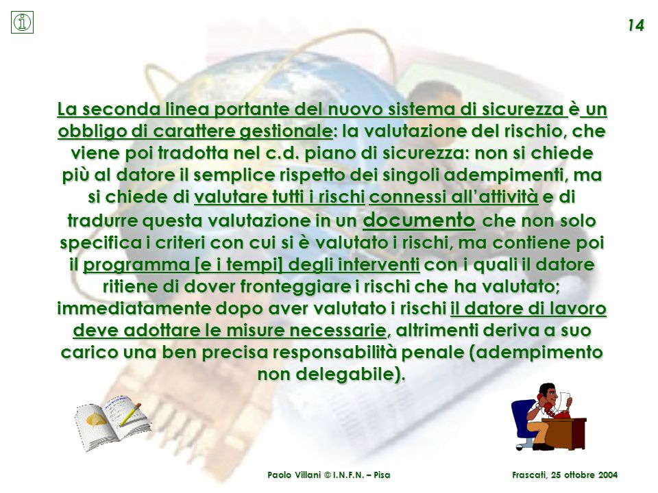 Paolo Villani © I.N.F.N. – Pisa 14 Frascati, 25 ottobre 2004 La seconda linea portante del nuovo sistema di sicurezza è un obbligo di carattere gestio