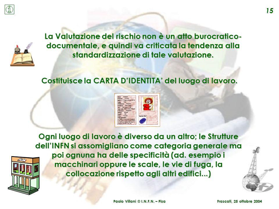 Paolo Villani © I.N.F.N. – Pisa 15 Frascati, 25 ottobre 2004 La Valutazione del rischio non è un atto burocratico- documentale, e quindi va criticata