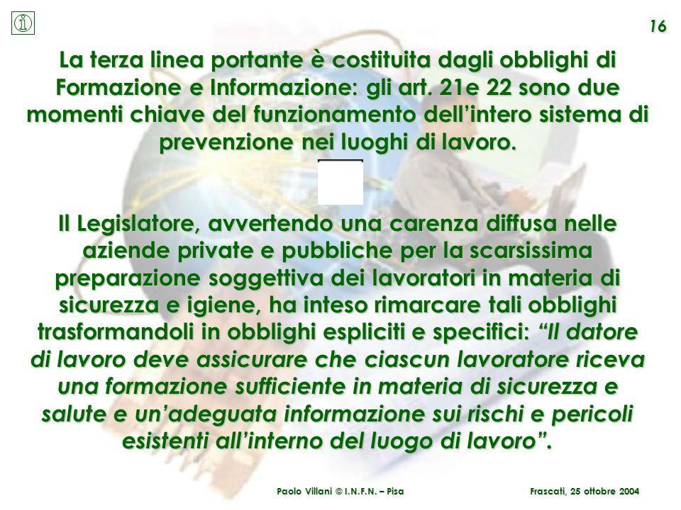 Paolo Villani © I.N.F.N. – Pisa 16 Frascati, 25 ottobre 2004 La terza linea portante è costituita dagli obblighi di Formazione e Informazione: gli art