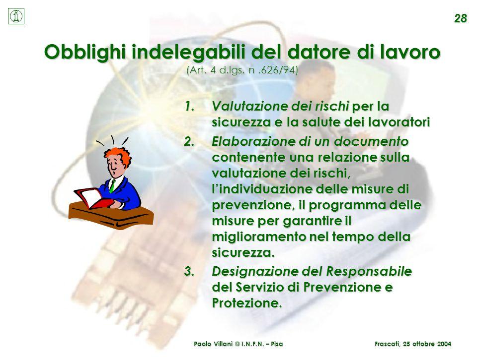 Paolo Villani © I.N.F.N. – Pisa Obblighi indelegabili del datore di lavoro (Art. 4 d.lgs. n.626/94) 1.Valutazione dei rischi per la sicurezza e la sal