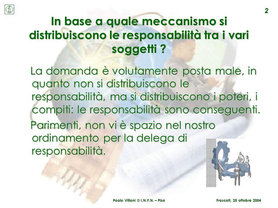 Paolo Villani © I.N.F.N. – Pisa In base a quale meccanismo si distribuiscono le responsabilità tra i vari soggetti ? La domanda è volutamente posta ma