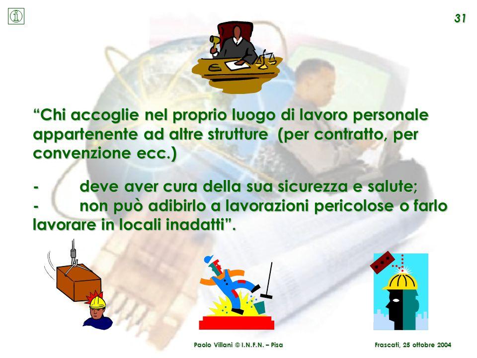 Paolo Villani © I.N.F.N. – Pisa 31 Frascati, 25 ottobre 2004 Chi accoglie nel proprio luogo di lavoro personale appartenente ad altre strutture (per c