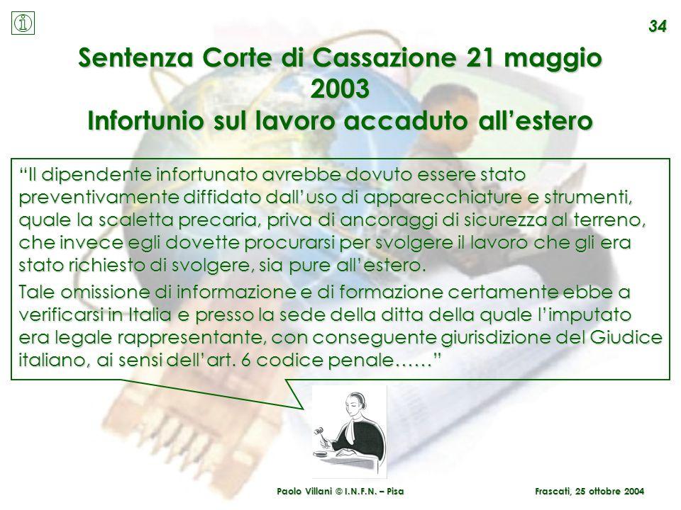 Paolo Villani © I.N.F.N. – Pisa 34 Sentenza Corte di Cassazione 21 maggio 2003 Infortunio sul lavoro accaduto allestero Il dipendente infortunato avre