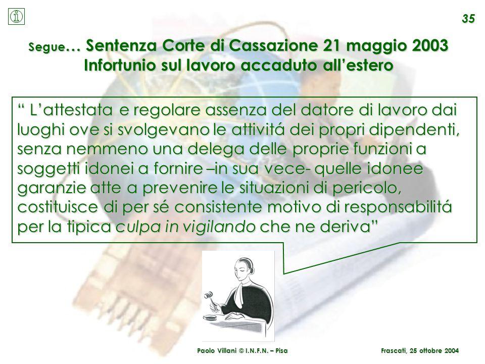 Paolo Villani © I.N.F.N. – Pisa Frascati, 25 ottobre 2004 35 Segue … Sentenza Corte di Cassazione 21 maggio 2003 Infortunio sul lavoro accaduto allest