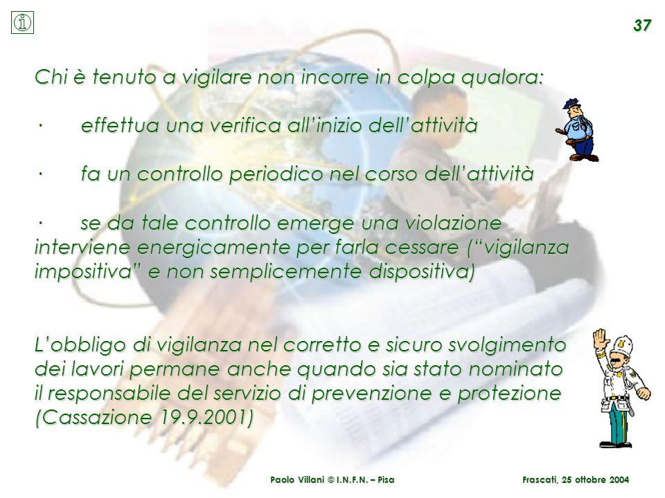 Paolo Villani © I.N.F.N. – Pisa 37 Frascati, 25 ottobre 2004 Chi è tenuto a vigilare non incorre in colpa qualora: · effettua una verifica allinizio d