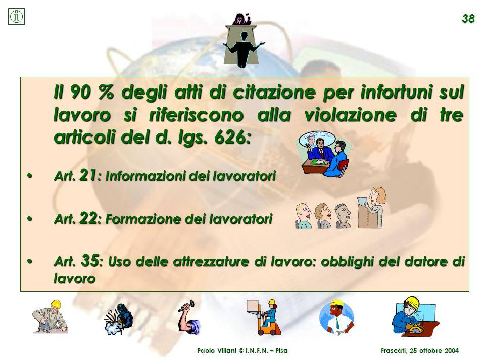 Paolo Villani © I.N.F.N. – Pisa 38 Frascati, 25 ottobre 2004 Il 90 % degli atti di citazione per infortuni sul lavoro si riferiscono alla violazione d