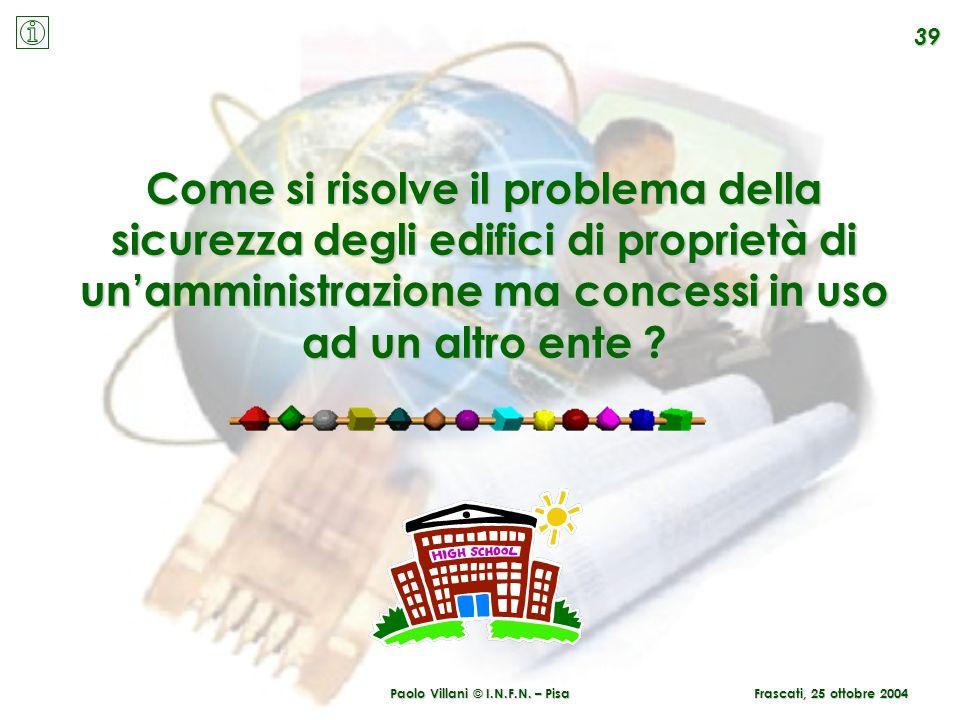 Paolo Villani © I.N.F.N. – Pisa Frascati, 25 ottobre 2004 39 Come si risolve il problema della sicurezza degli edifici di proprietà di unamministrazio