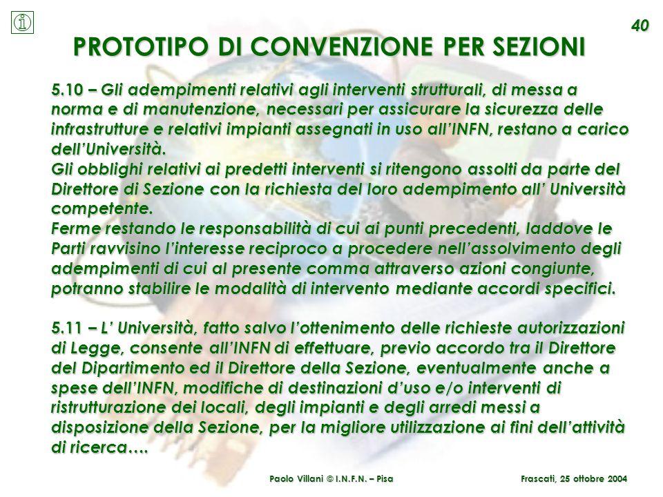 Paolo Villani © I.N.F.N. – Pisa 40 5.10 – Gli adempimenti relativi agli interventi strutturali, di messa a norma e di manutenzione, necessari per assi