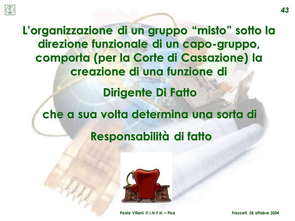 Paolo Villani © I.N.F.N. – Pisa 43 Lorganizzazione di un gruppo misto sotto la direzione funzionale di un capo-gruppo, comporta (per la Corte di Cassa