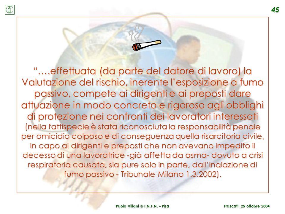 Paolo Villani © I.N.F.N. – Pisa Frascati, 25 ottobre 2004 45 ….effettuata (da parte del datore di lavoro) la Valutazione del rischio, inerente lesposi