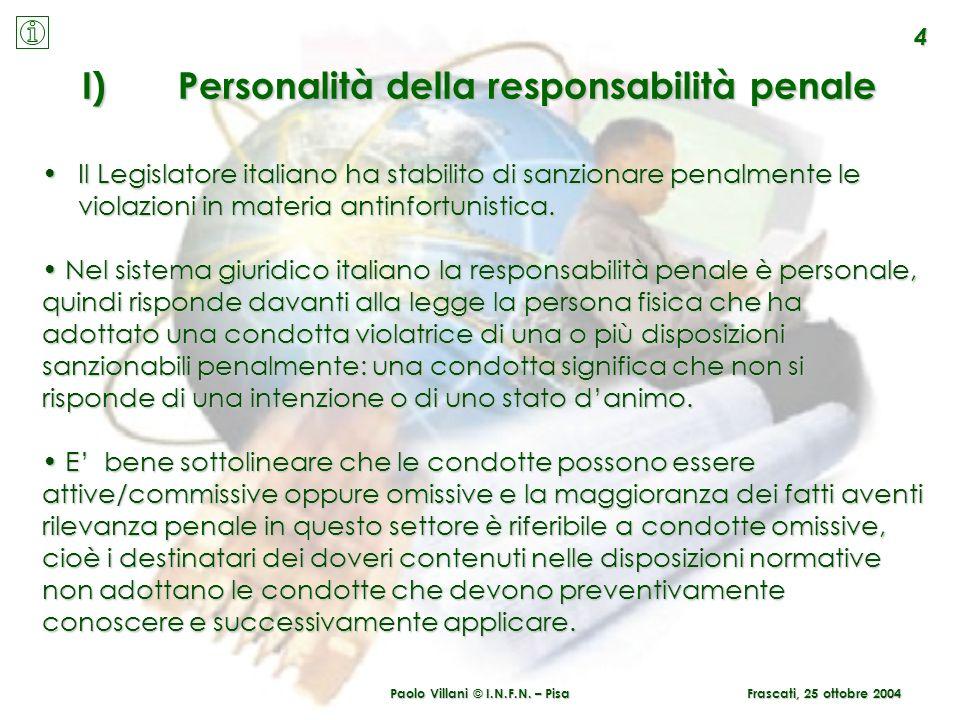 Paolo Villani © I.N.F.N. – Pisa 4 Frascati, 25 ottobre 2004 I)Personalità della responsabilità penale Il Legislatore italiano ha stabilito di sanziona