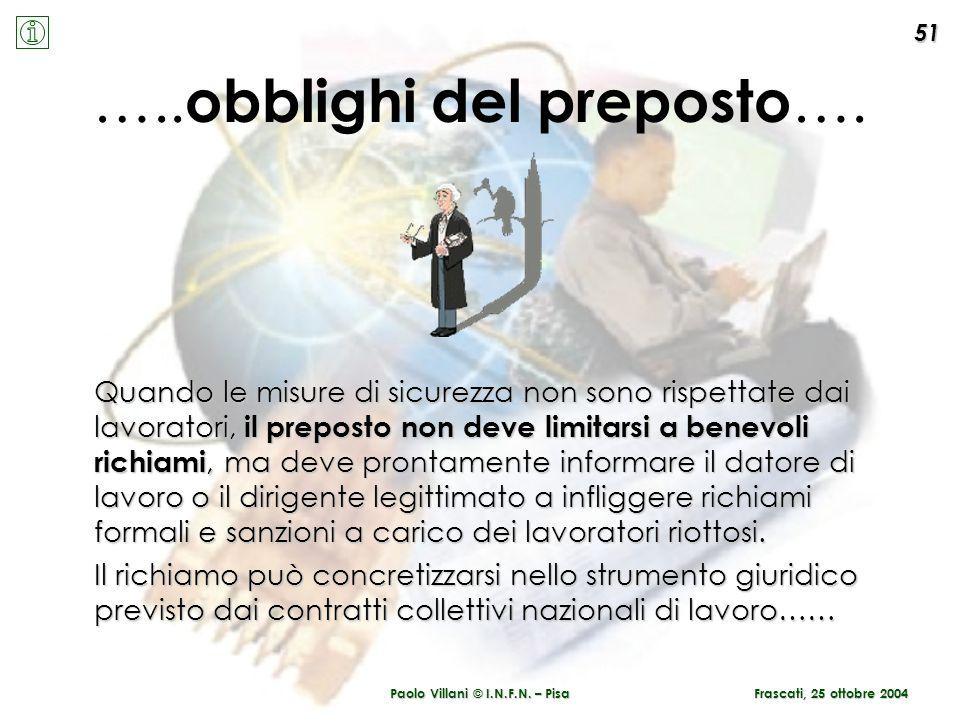 Paolo Villani © I.N.F.N. – Pisa ….. obblighi del preposto …. Quando le misure di sicurezza non sono rispettate dai lavoratori, il preposto non deve li