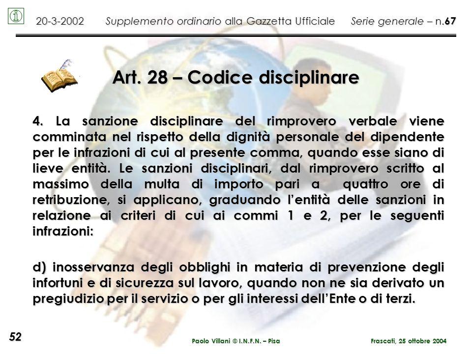 Paolo Villani © I.N.F.N. – Pisa Art. 28 – Codice disciplinare 4. La sanzione disciplinare del rimprovero verbale viene comminata nel rispetto della di