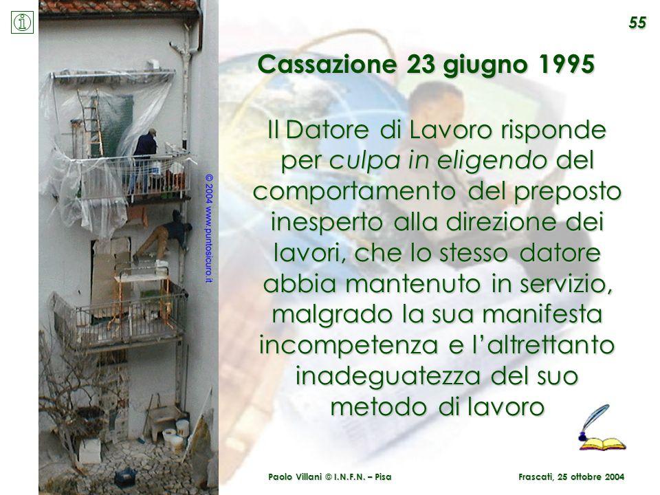 Paolo Villani © I.N.F.N. – Pisa Frascati, 25 ottobre 2004 Il Datore di Lavoro risponde per culpa in eligendo del comportamento del preposto inesperto