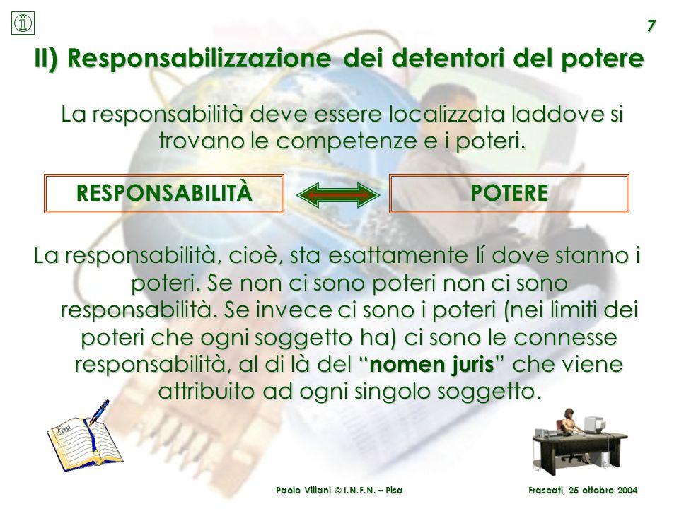 Paolo Villani © I.N.F.N. – Pisa 7 Frascati, 25 ottobre 2004 II) Responsabilizzazione dei detentori del potere La responsabilità, cioè, sta esattamente