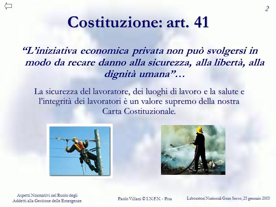 Laboratori Nazionali Gran Sasso, 25 gennaio 2005 Aspetti Normativi nel Ruolo degli Addetti alla Gestione delle Emergenze Paolo Villani © I.N.F.N.
