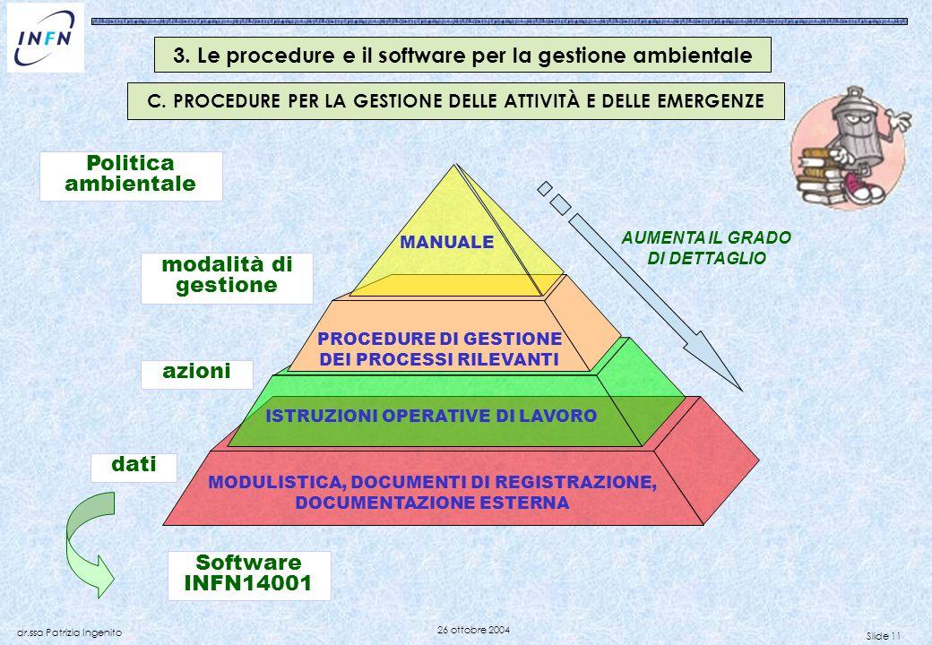 Slide 11 dr.ssa Patrizia Ingenito 26 ottobre 2004 3. Le procedure e il software per la gestione ambientale PROCEDURE DI GESTIONE DEI PROCESSI RILEVANT