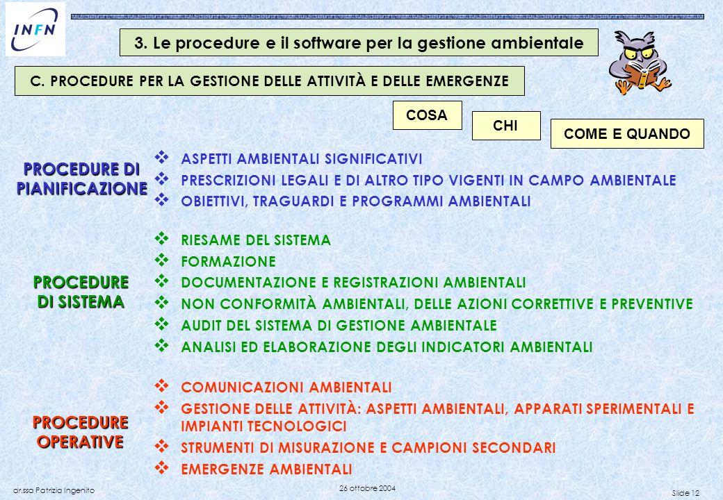 Slide 12 dr.ssa Patrizia Ingenito 26 ottobre 2004 PROCEDURE DI PIANIFICAZIONE PROCEDURE DI SISTEMA RIESAME DEL SISTEMA FORMAZIONE DOCUMENTAZIONE E REG
