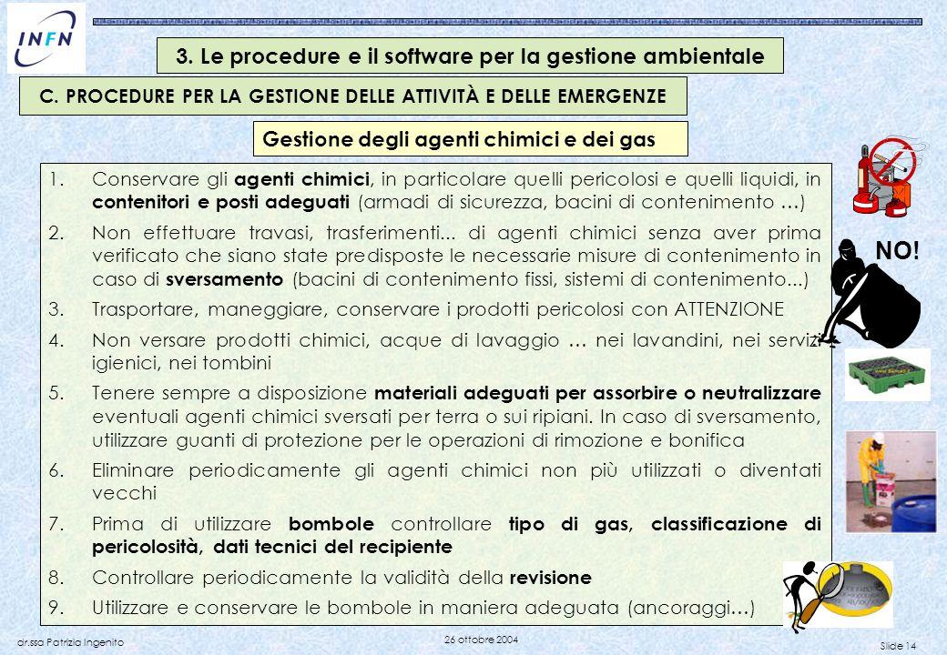Slide 14 dr.ssa Patrizia Ingenito 26 ottobre 2004 1.Conservare gli agenti chimici, in particolare quelli pericolosi e quelli liquidi, in contenitori e