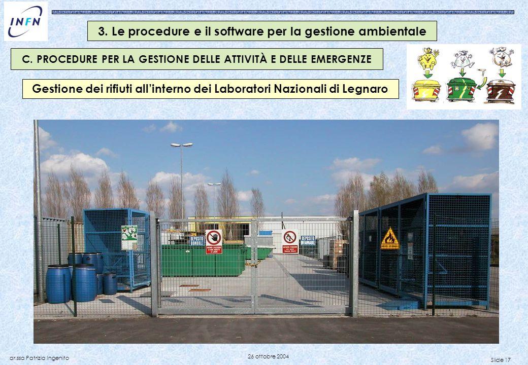 Slide 17 dr.ssa Patrizia Ingenito 26 ottobre 2004 Gestione dei rifiuti allinterno dei Laboratori Nazionali di Legnaro C. PROCEDURE PER LA GESTIONE DEL