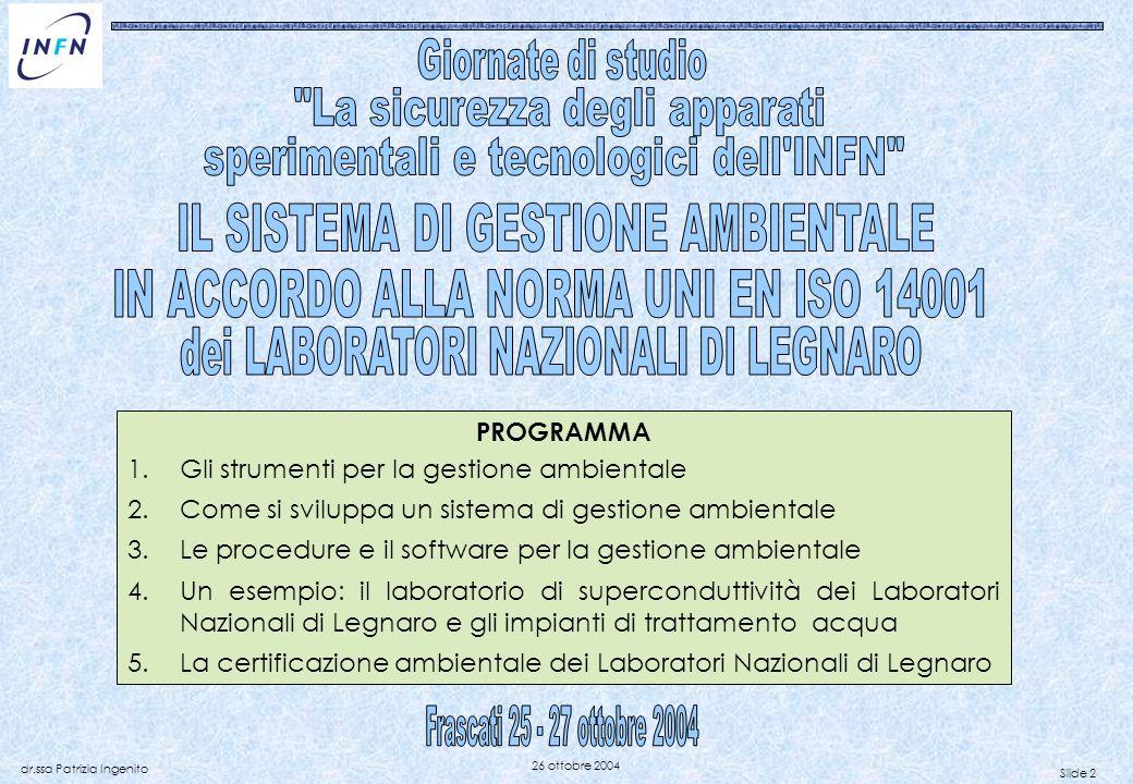 Slide 2 dr.ssa Patrizia Ingenito 26 ottobre 2004 PROGRAMMA 1.Gli strumenti per la gestione ambientale 2.Come si sviluppa un sistema di gestione ambien