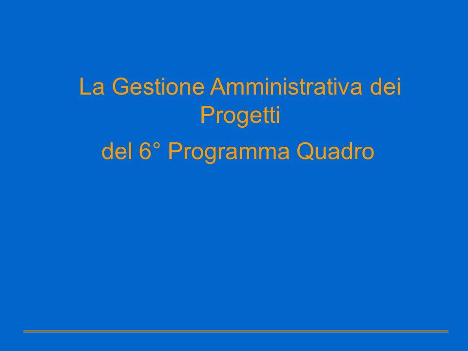 del 6° Programma Quadro La Gestione Amministrativa dei Progetti