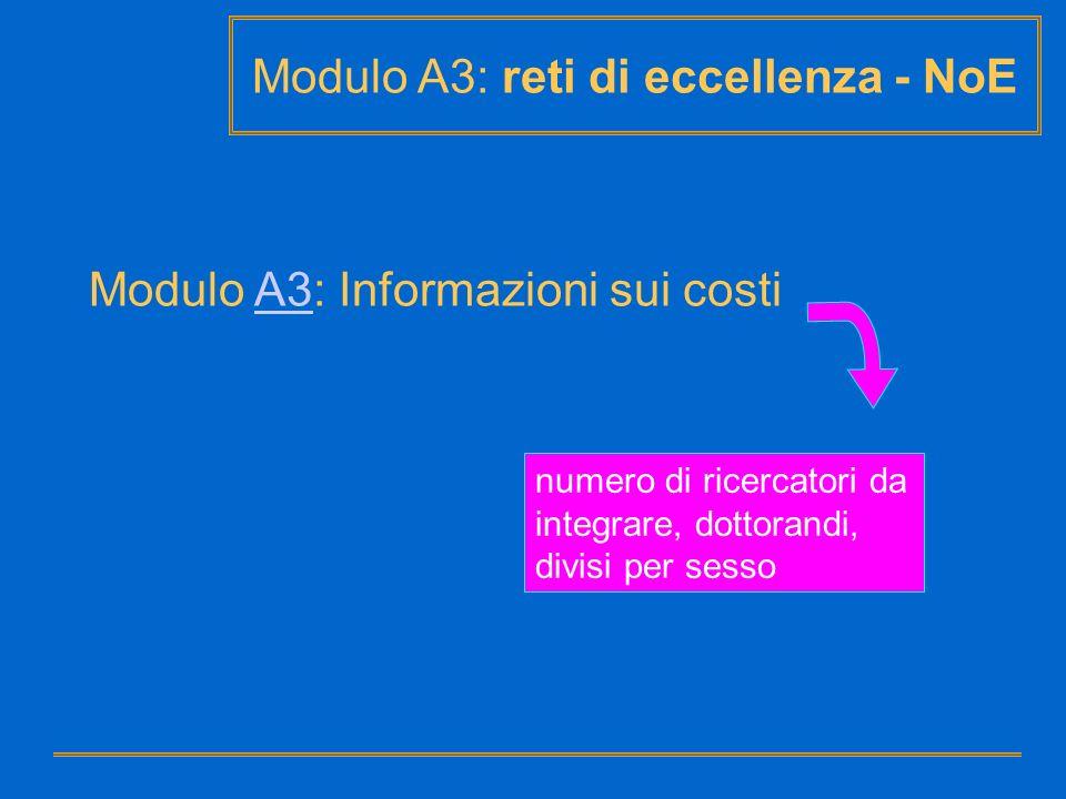Modulo A3: reti di eccellenza - NoE Modulo A3: Informazioni sui costiA3 numero di ricercatori da integrare, dottorandi, divisi per sesso