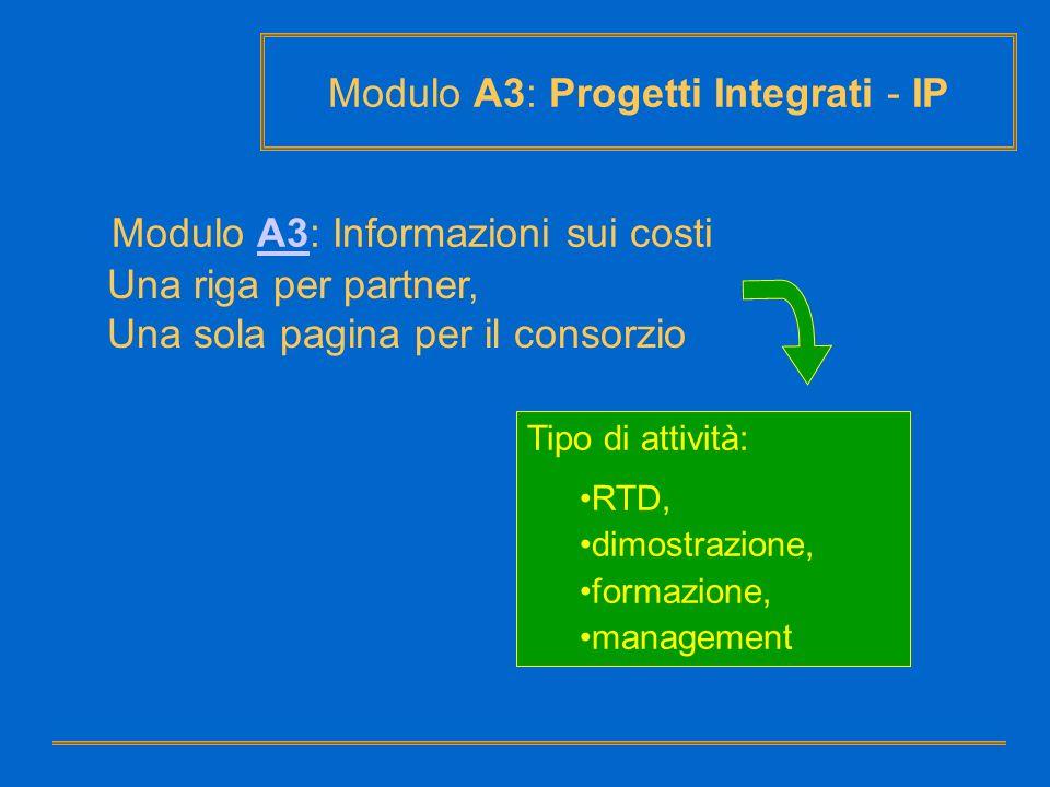 Tipo di attività: RTD, dimostrazione, formazione, management Modulo A3: Progetti Integrati - IP Una riga per partner, Una sola pagina per il consorzio
