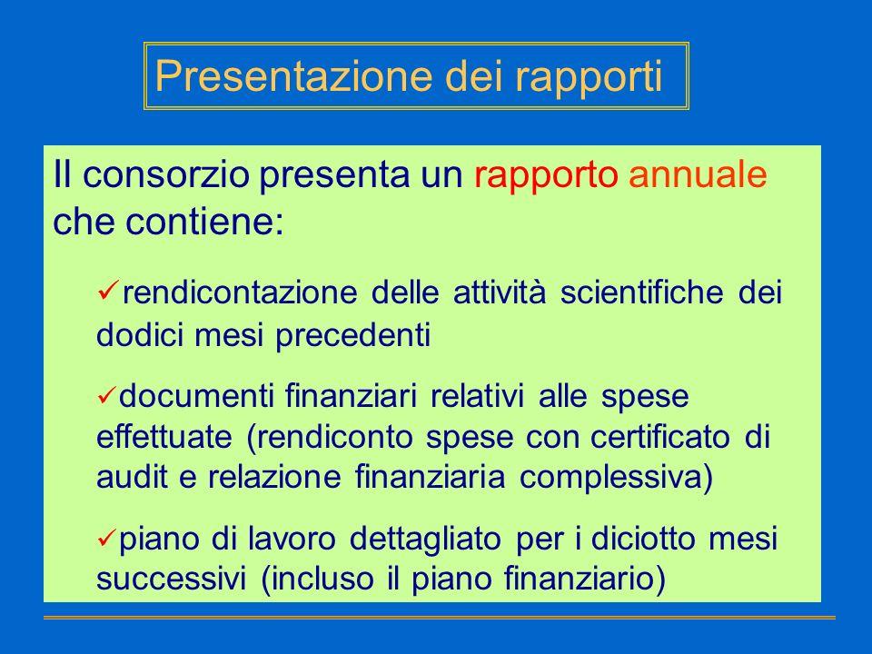 Presentazione dei rapporti Il consorzio presenta un rapporto annuale che contiene: rendicontazione delle attività scientifiche dei dodici mesi precede