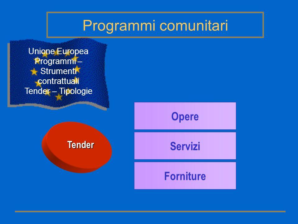Tender Opere Servizi Forniture Unione Europea Programmi – Strumenti contrattuali Tender – Tipologie Programmi comunitari