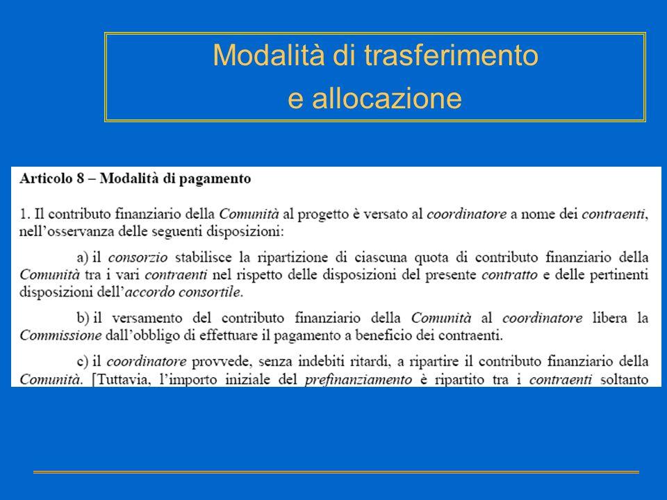 Modalità di trasferimento e allocazione