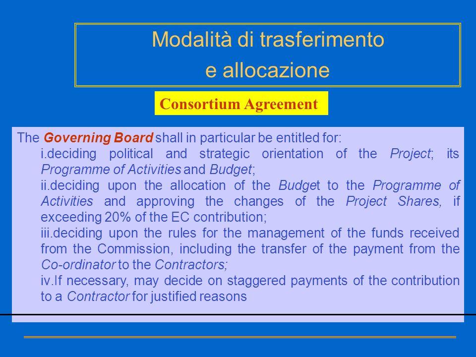 Modalità di trasferimento e allocazione The Governing Board shall in particular be entitled for: i.deciding political and strategic orientation of the