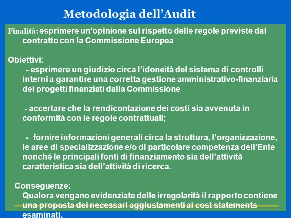 Metodologia dellAudit Finalità: esprimere un'opinione sul rispetto delle regole previste dal contratto con la Commissione Europea Obiettivi: - esprime