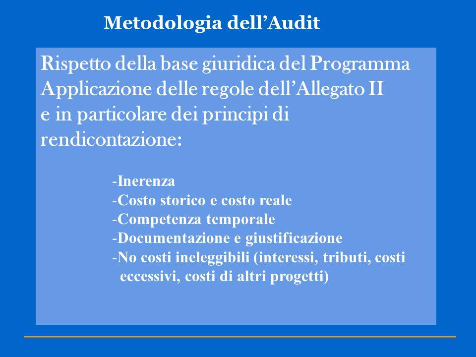 Metodologia dellAudit Rispetto della base giuridica del Programma Applicazione delle regole dellAllegato II e in particolare dei principi di rendicont