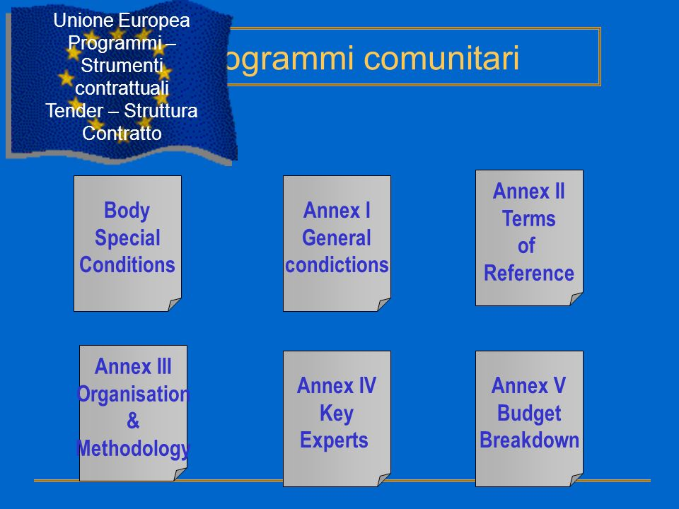 Body Special Conditions Annex I General condictions Annex II Terms of Reference Annex III Organisation & Methodology Annex IV Key Experts Annex V Budg