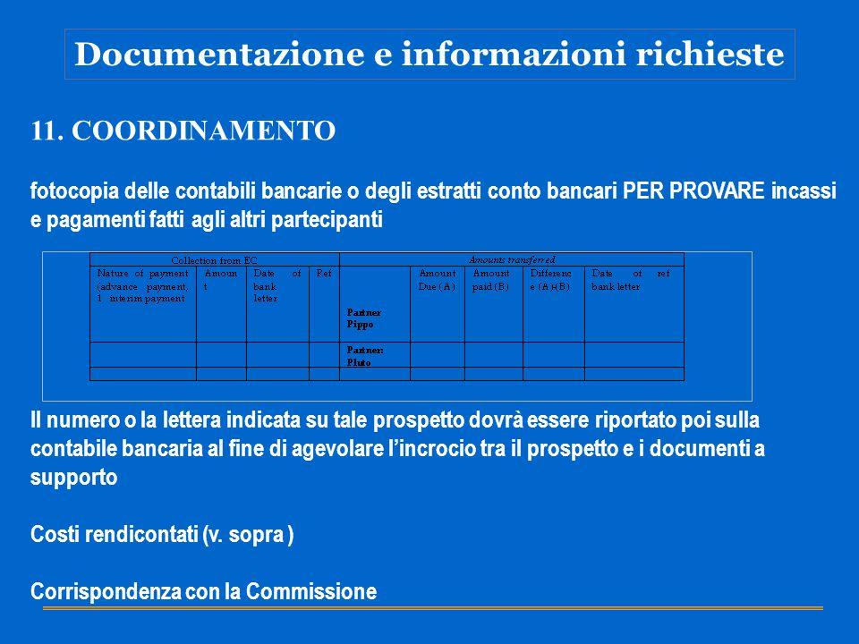 Documentazione e informazioni richieste 11. COORDINAMENTO fotocopia delle contabili bancarie o degli estratti conto bancari PER PROVARE incassi e paga
