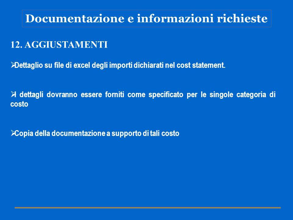 Documentazione e informazioni richieste 12. AGGIUSTAMENTI Dettaglio su file di excel degli importi dichiarati nel cost statement. I dettagli dovranno