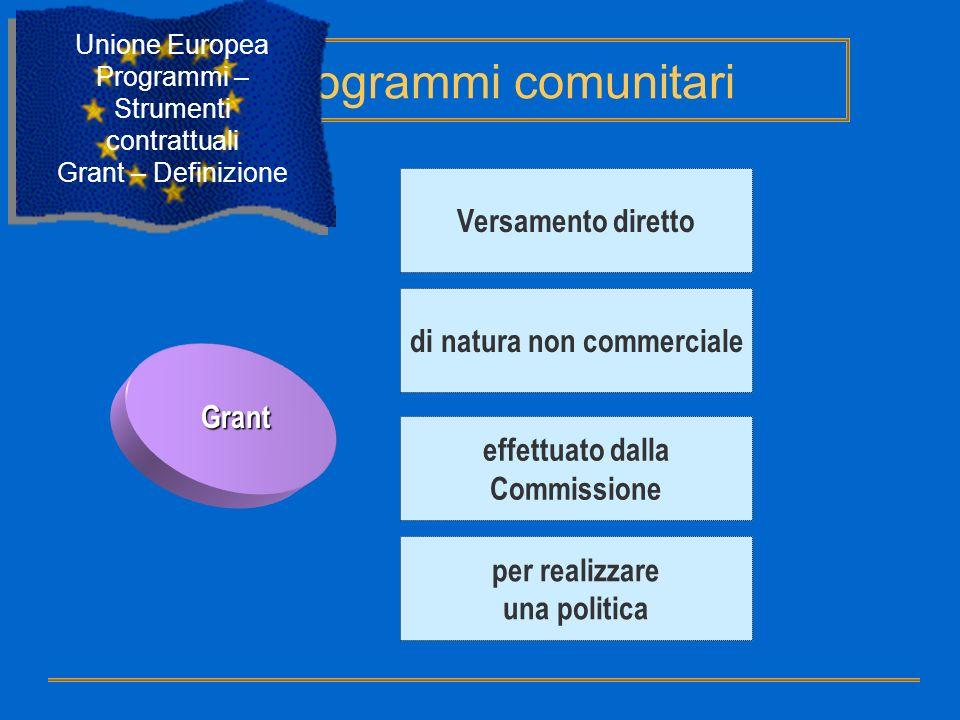 Grant Versamento diretto di natura non commerciale effettuato dalla Commissione per realizzare una politica Programmi comunitari Unione Europea Progra