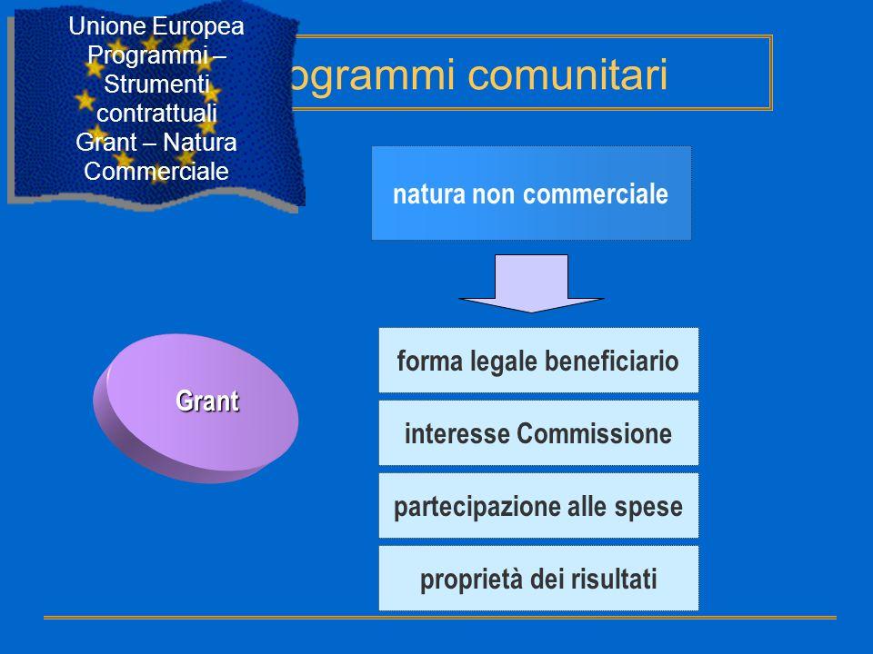 Grant natura non commerciale forma legale beneficiario interesse Commissione partecipazione alle spese proprietà dei risultati Programmi comunitari Un