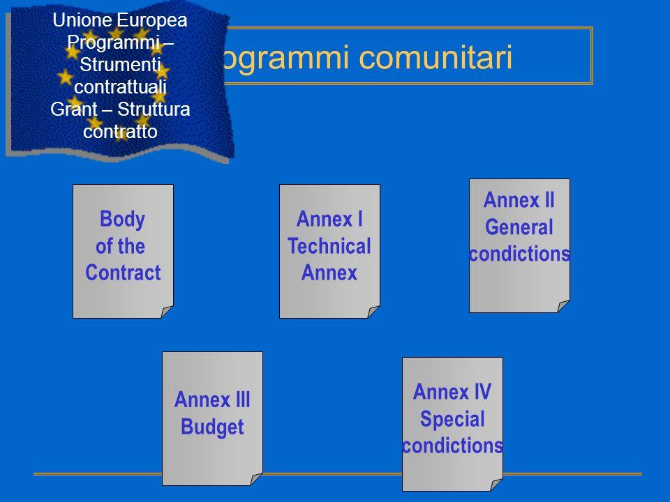 Body of the Contract Annex I Technical Annex Annex II General condictions Annex III Budget Annex IV Special condictions Programmi comunitari Unione Eu